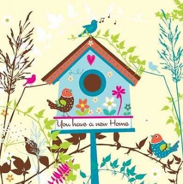"NEW HOME CARD ""BIRD HOUSE DESIGN"" SQUARE SIZE 5.5"" x 5.5"" By Lings FH157"